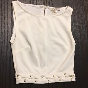 Off White Braided Crop Top NWOT